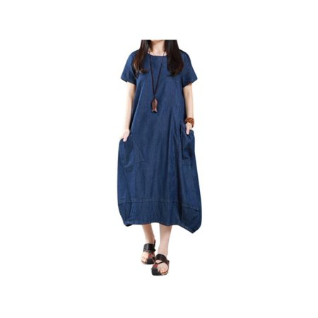 Womens Denim Blue Short Sleeve Baggy Long - Long Sleeve Wet Look Dress