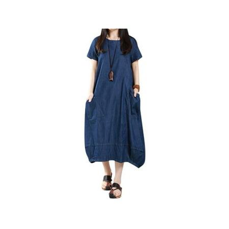 Womens Denim Jeans Look Short Sleeve Tunic Baggy Long Maxi Dresses Denim Long Sleeve Tunic