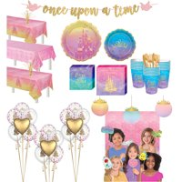 Party City Ultimate Disney Princess Tableware Supplies for 24 Guests, Includes Cups, Napkins, Plates, Balloons, Decor