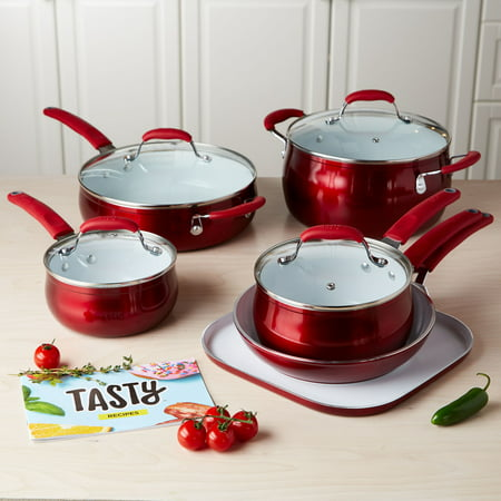 (Tasty 11pc Cookware Set Non-Stick - Titanium Reinforced Ceramic - Red)