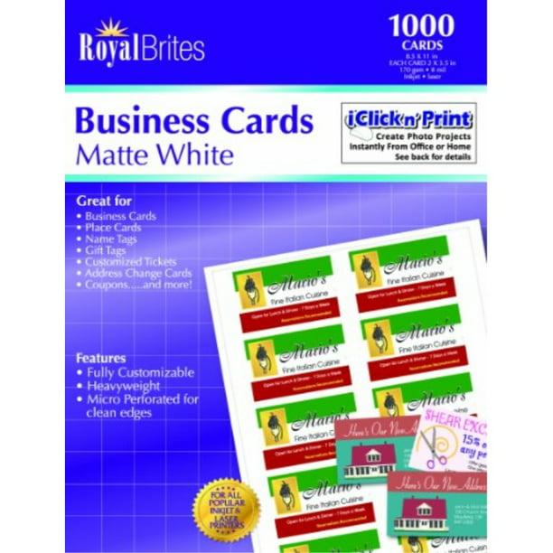 Royal Brites Matte Business Cards White 2 X 3 5 Inches Pack Of 1000 28992 Walmart Com Walmart Com