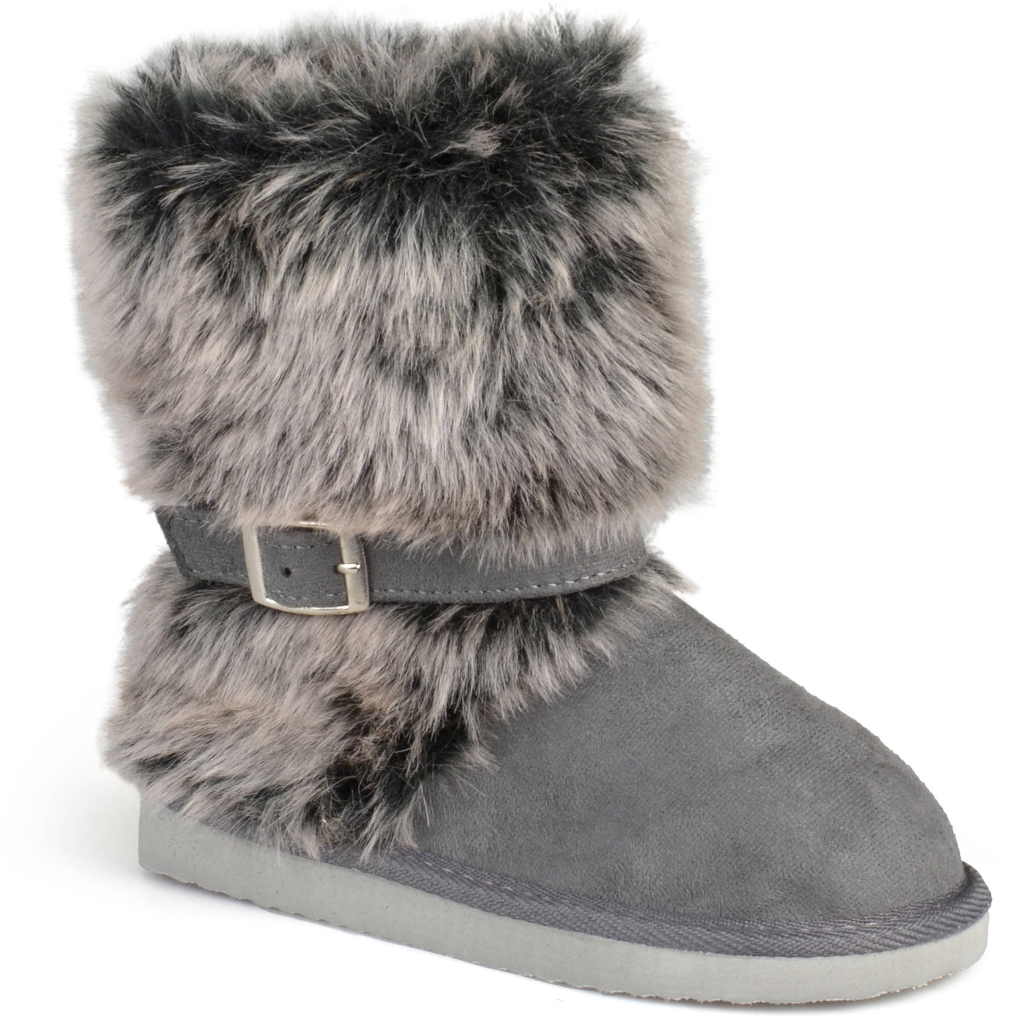 Brinley Co. Girls' Buckle Accent Faux Fur Boots