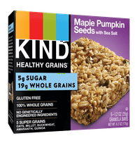 KIND Healthy Grains Granola Bar, Maple Pumpkin Seeds with Sea Salt, 5 Bars, Gluten Free, Healthy Grains Bars