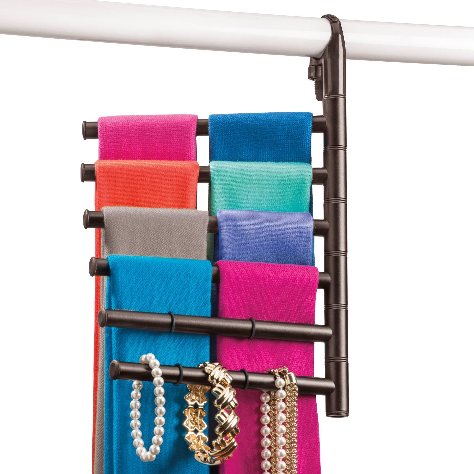 Lynk Hanging Pivoting Scarf Rack and Accessory Holder, Closet Hanger Organizer Rack, Bronze