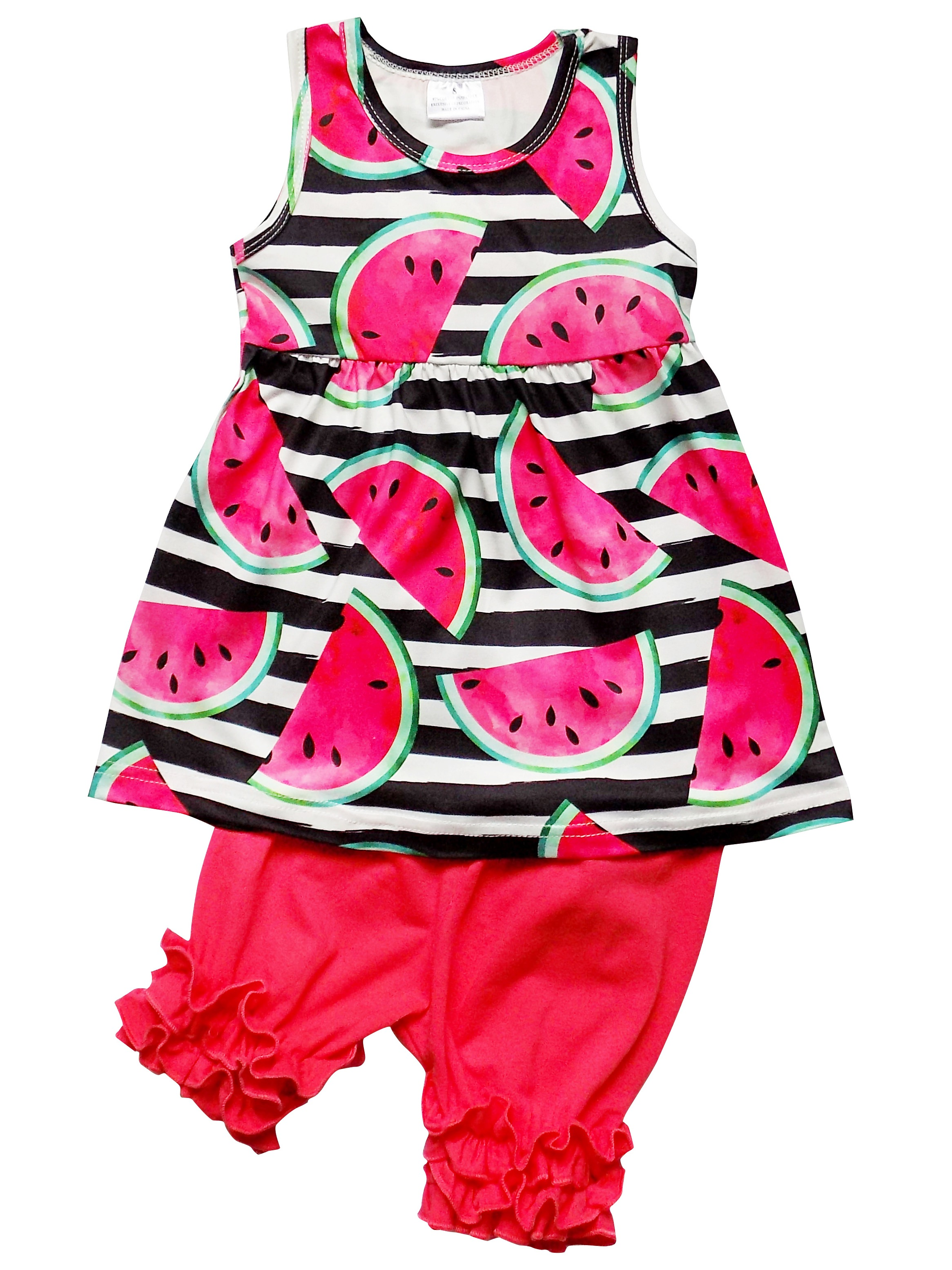 So Sydney Girls or Toddler Deluxe Novelty Ruffle Summer Boutique Shorts Outfit