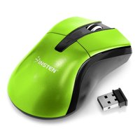 Insten Cordless Mouse for Gaming Green 2.4G 4 Keys with DPI 1600 + Mouse Pad with Wrist Pad Rest Support Comfort Laptop Desktop PC Computer Black