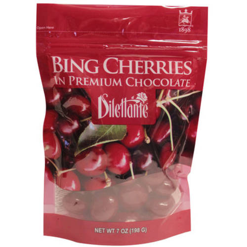 Dilettante Bing Cherries in Premium Chocolate, 7 oz