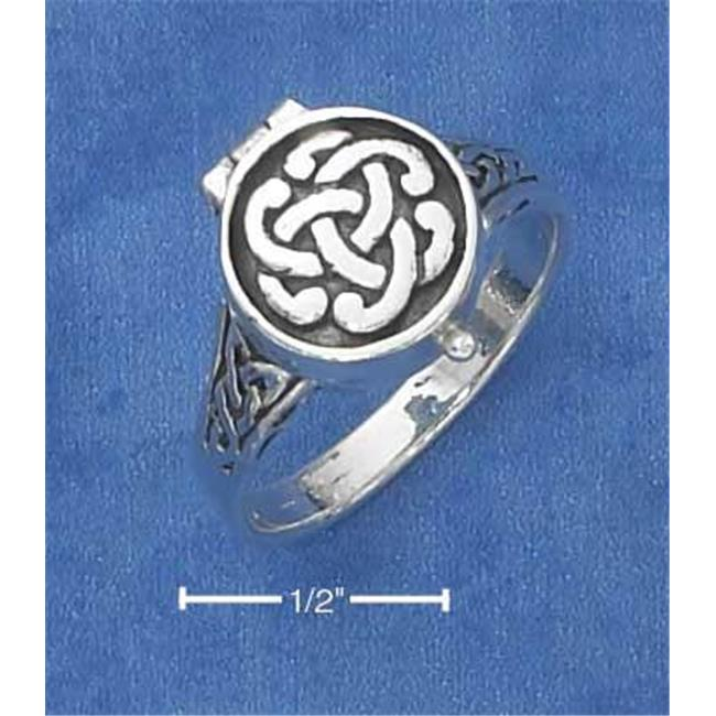 Sterling Silver Antiqued Celtic Knot Poison Ring - Size 6