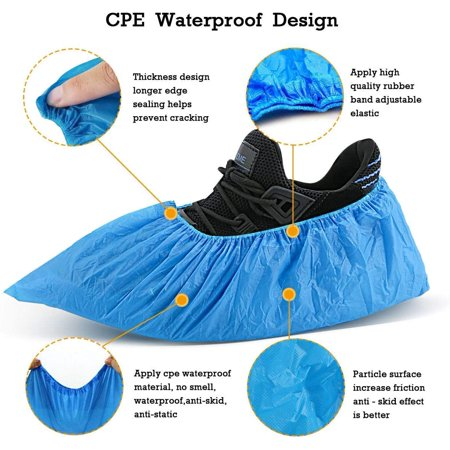 100pcs Disposable Shoe Covers -50 Pairs CPE Disposable Shoe & Boot Covers Waterproof Slip Resistant Shoe Booties - image 6 of 9
