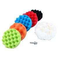LHCER 7Pcs 4  Sponge Polishing Waxing Buffing Pads Kit Car Polisher + M10 Drill Adapter Kit, Car Waxing And Polishing Tools