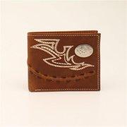 3D Belt DW264 Brown Distressed Leather Fancy Stitch Bi-fold Wallet - 3.50 x 4.37 in.