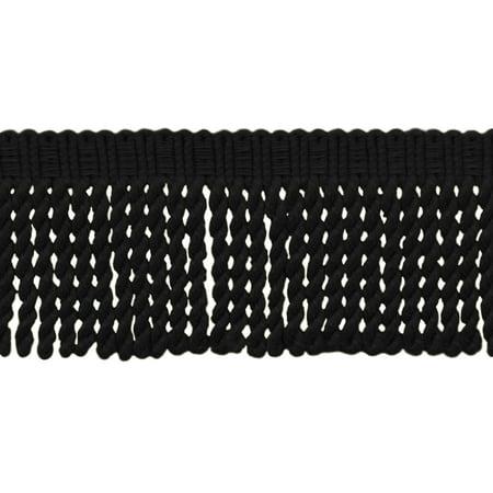 3 Inch Long|Black Knitted Bullion Fringe Trim|Style# BFSCR3|Color: K9 - Midnight's Embrace|Sold By the Yard (Crochet Knit Fringe)