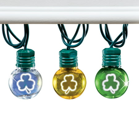 Indoor Globe - Shamrock Globe LED String Lights with Green, Clear, and Yellow Bulbs - St. Patrick's Holiday Décor for Indoors or Outdoors