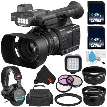 Panasonic AG-AC30 Full HD Camcorder with Touch Panel LCD Viewscreen AG-AC30PJ + 128GB SDXC Class 10 Memory Card + Carrying Case + Professional 160 LED Video Light + Sony MDR-7506 (Best Professional Camcorders)