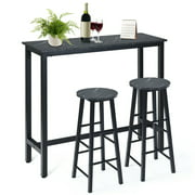 Gymax 3 Pcs Faux Marble Pub Dining Set Table & 2 Chairs Bistro Kitchen Breakfast Black