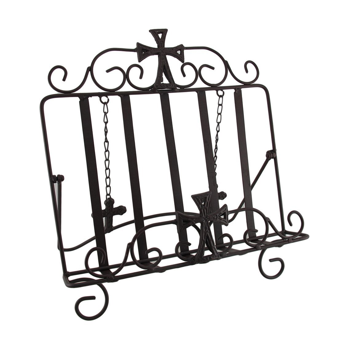Wrought Iron Gothic Cross Bible Holder Easel Stand, Metal...