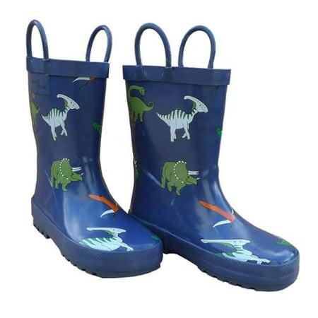 Blue Dinosaurs Boys Rain Boots 11-3 - Dinosaurs Shoes