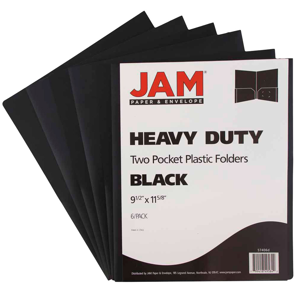 JAM Paper Heavy Duty Plastic 2 Pocket Presentation Folders, Black, 6/pack