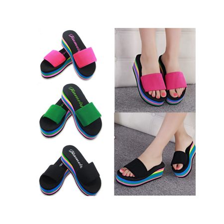 Women S Casual Flip Flops Wedge Shoes Rainbow Slippers Platform Beach Sandals