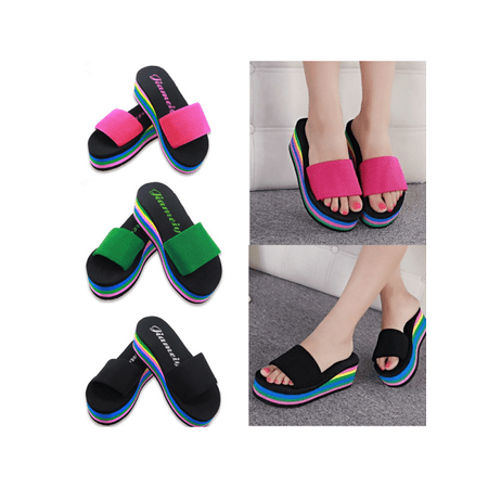 a7c7c439d Women s Casual Flip Flops Wedge Shoes Rainbow Slippers Platform Beach  Sandals - Walmart.com