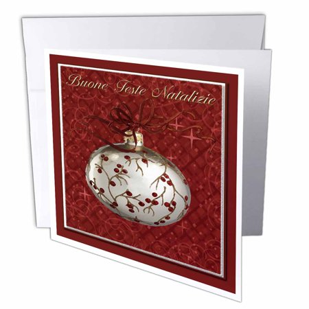 Merry Christmas In Italian.3drose Buone Feste Natalizie Merry Christmas In Italian Red Berries Greeting Cards 6 X 6 Inches Set Of 6