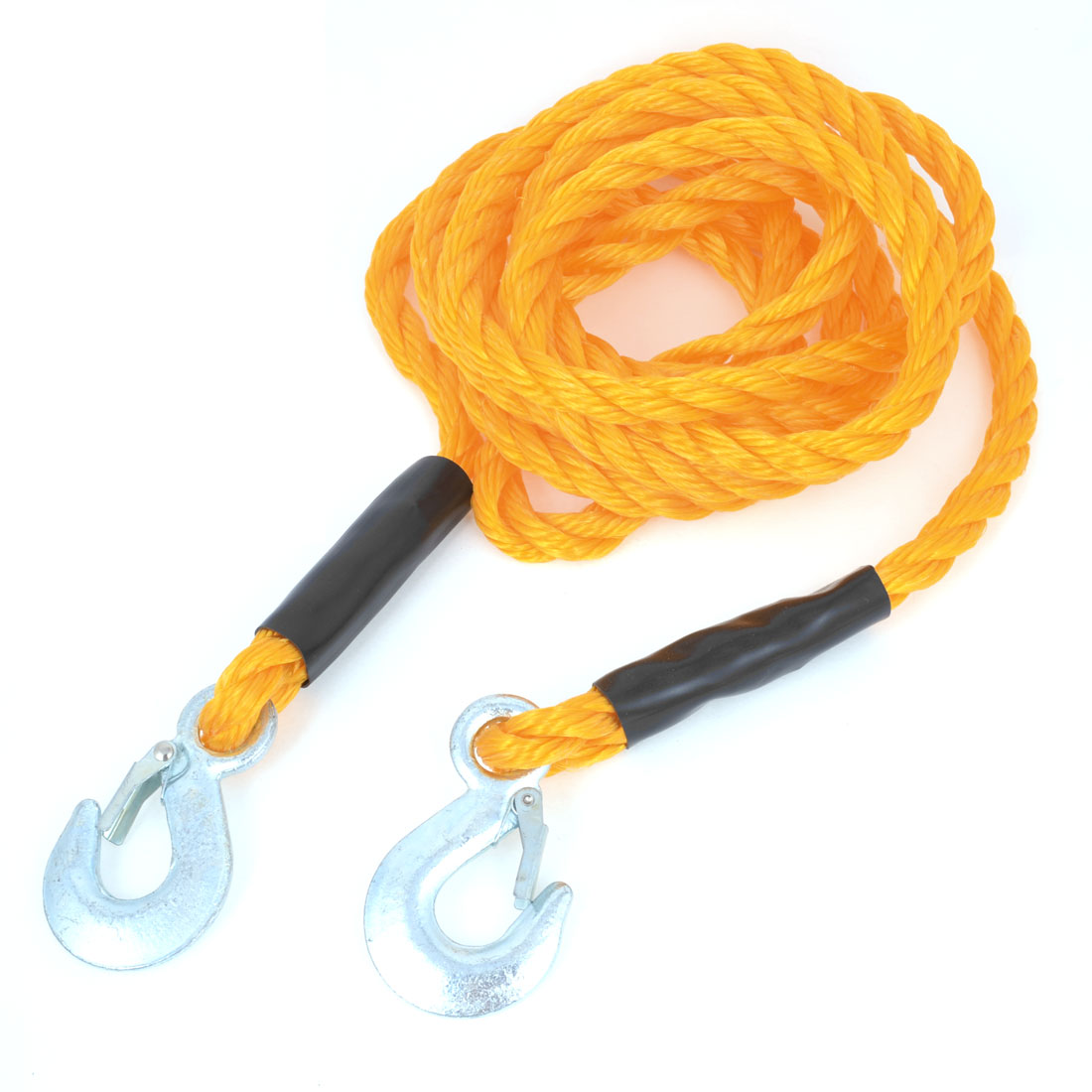 4.5M Long Two Metal Hooks Pulling Strap Towing Rope Yellow Nylon for Auto Car