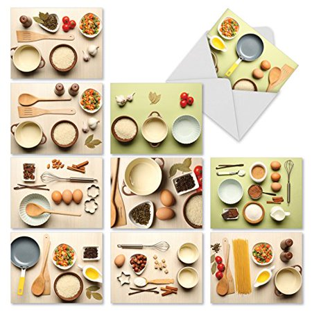 'M2339ING CULINARY INVITES' 10 Assorted Invitation Note Cards Featuring Photos of Mouth Watering Ingredients and Recipes to Inspire Your Next Culinary Event with Envelopes by The Best Card