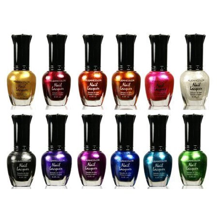 Full Polish Comb - Kleancolor Nail Polish - Awesome Metallic Full Size Lacquer Lot of 12-pc Set