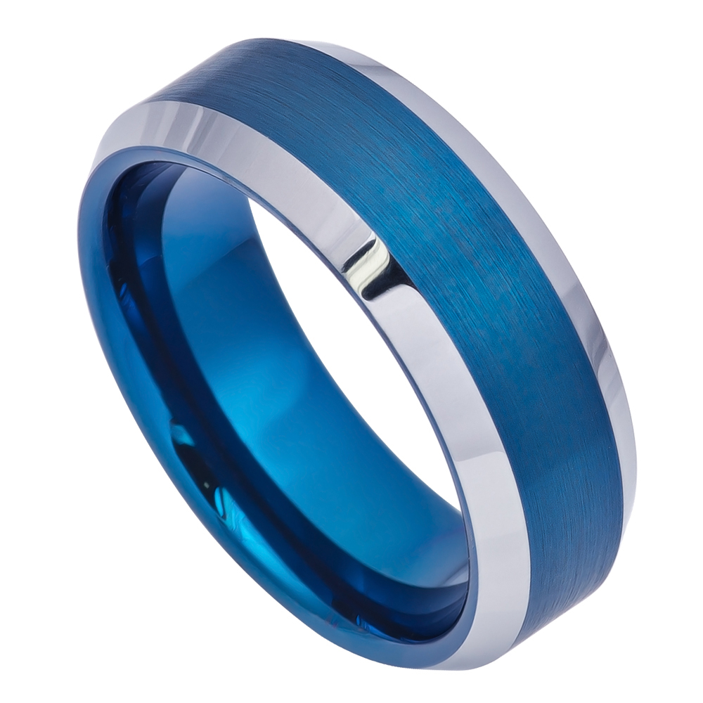 8MM Comfort Fit Tungsten Carbide Wedding Band Beveled Edge Brushed Blue Tone Ring (7 to 15) Size 13
