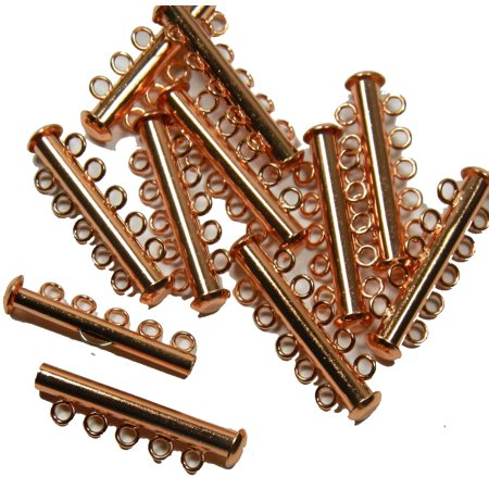 10 Pack Multi 5 Strand Slide Lock Clasps Copper Plated Brass