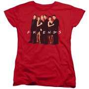 Friends Cast In Black Womens Short Sleeve Shirt