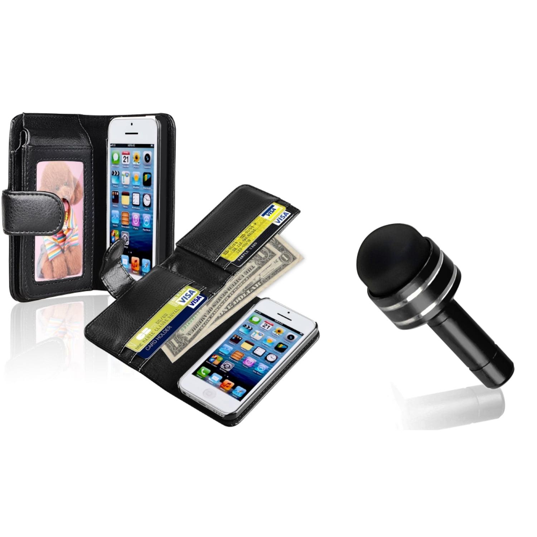 Insten Black Wallet Card Holder Leather Case+Dust Stylus For Apple iPhone 5C