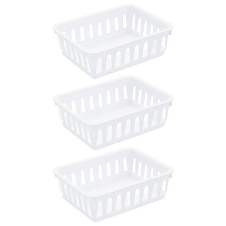 Sterilite 1605 Mini Storage Tray Bin Basket Organizer Stackable Home Office Plastic White, 3-Pack