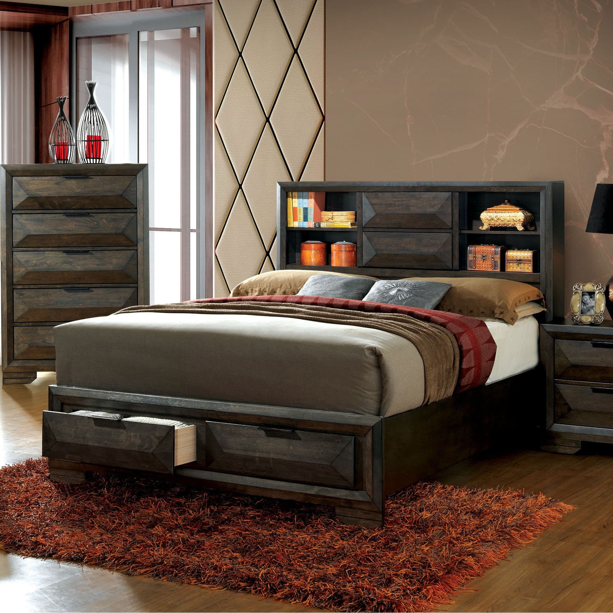 Furniture Of America Stayven Contemporary Bookcase Headboard