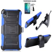Phone Case For Straight Talk Motorola e6 Prepaid Smartphone /Moto E6 Case +Tempered Glass with Shock Absorbing Holster Belt Clip (Holster Blue  +Tempered Glass)
