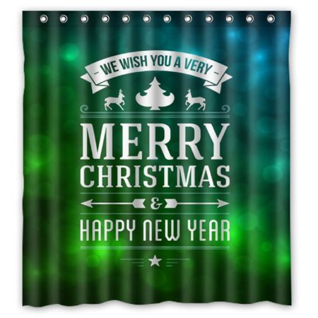 ARTJIA Fantasy Green Background MERRY CHRISTMAS HAPPY NEW YEAR Shower Curtain Waterproof Polyester Fabric Bathroom Curtain 66x72 - New Fantasy Green
