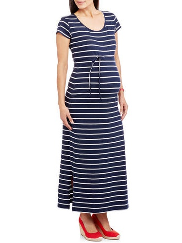 Maternity Cap Sleeve Scoop Neck Stripe Dress with Self Tie-- Available In Plus Sizes