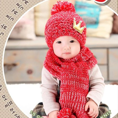 aa1753e75 Cute Winter Baby Kids Girls Boys Warm Woolen Coif Hood Scarf Caps ...