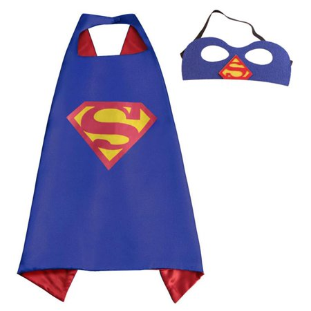 DC Comics Costume - Superman Logo Cape and Mask with Gift Box by Superheroes](Comic Con Easy Costumes)