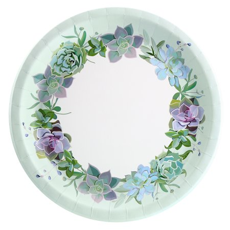 Floral Succulents Dinner Plate (8 Count) ()