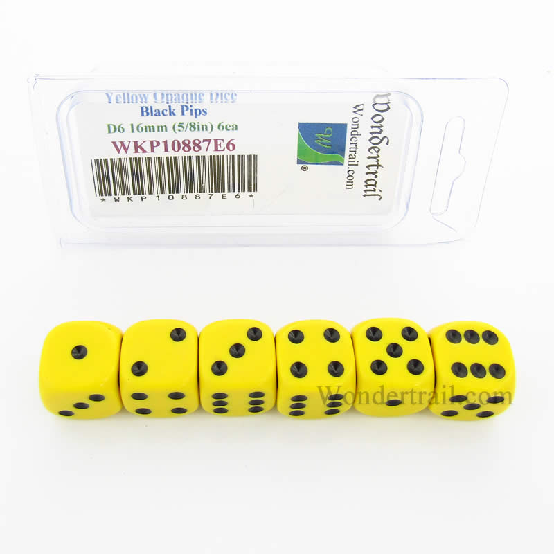 Yellow Opaque Dice with Black Pips D6 16mm (5/8in) Pack of 6 Wondertrail