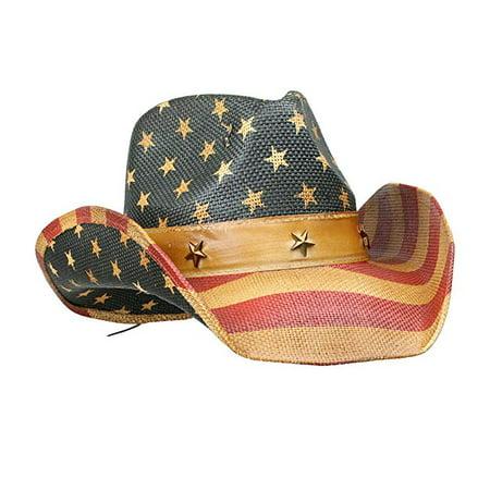 Vintage Classic Distressed USA American Flag Cowboy Hat w/ Western Shape-It Brim