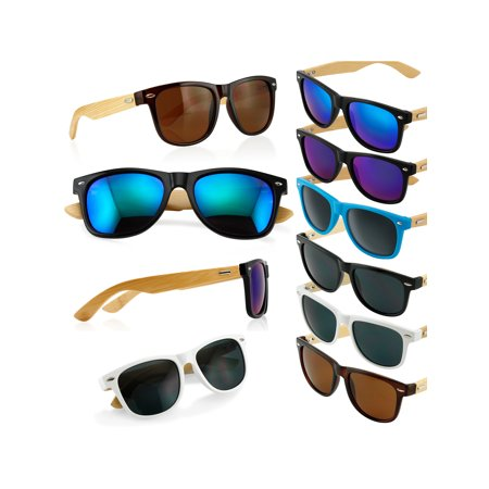 White Wayfarer Sunglasses (Fashion Vintage Wood Wooden Frame Mens Womens Glass Bamboo Sunglasses)