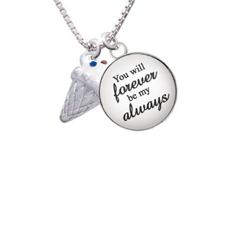 3 D Vanilla Ice Cream Cone With Crystal Sprinkles You Will Forever Be My Always Glass Dome Necklace  18  2
