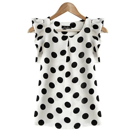 Womens Ruffle Trim (EFINNY Women Chiffon Polka Dot Ruffle Sleeve Office Lady Shirts )