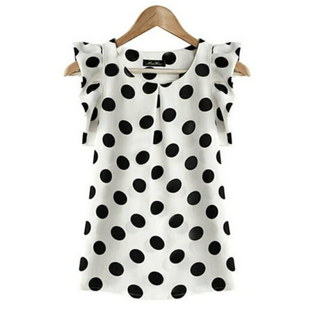 EFINNY Women Chiffon Polka Dot Ruffle Sleeve Office Lady - Skirts Dot Print Top