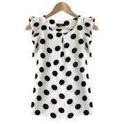 EFINNY Women Girls Chiffon Polka Dot Ruffle Sleeve Office Shirts