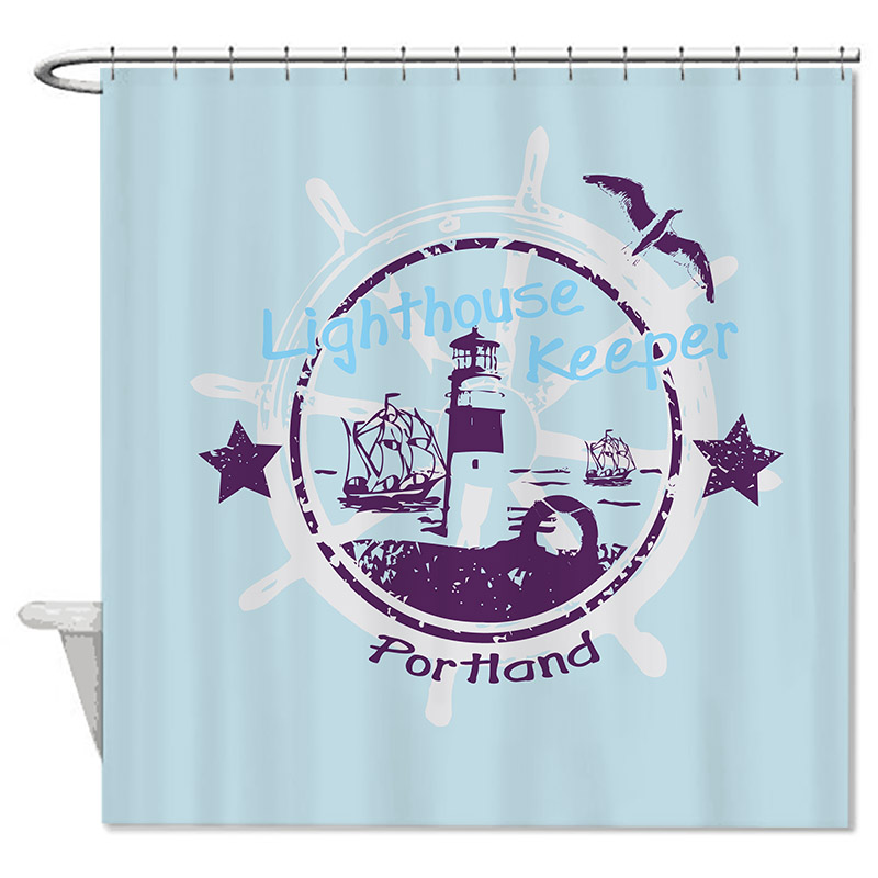 Wendana Sailing Bathroom Shower Curtain, Resistant Fabric Shower Curtain For Bathroom Decor-72inch*72inch With 12 Holes