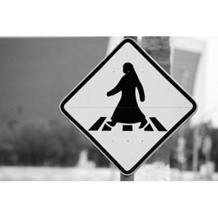 Qatar Ad Dawhah Doha Arabian Pedestrian Crossing Sign Al-Corniche Street Canvas Art - Walter Bibikow DanitaDelimont (36 x 24)