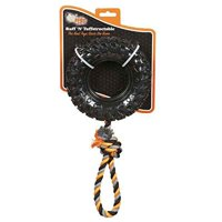 Tuffstructable Tire Tug Dog Toy Sport Tough Durable Textured Rubber & Thick Rope